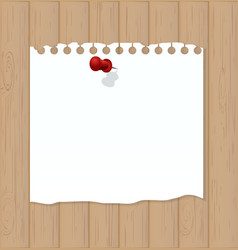 Wooden background with white note paper vector image