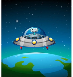 A robot inside the spaceship vector image vector image