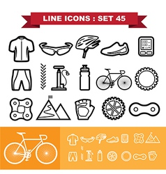 Bicycle Line icons set 45 vector image