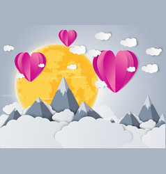 colorful air balloon heart shape and cloud moon vector image vector image