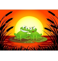 frog couple with sunset vector image vector image