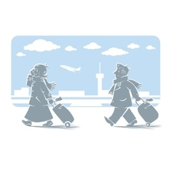 Funny air passengers with airport background vector image