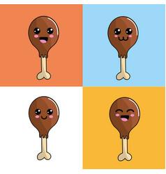 kawaii chicken thigh icon adorable expression vector image vector image