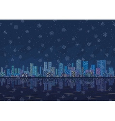 Night city landscape with snowflakes seamless vector image vector image