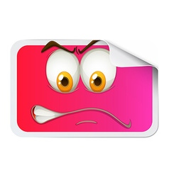 Pink sticker with face vector image