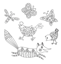 Set of outlined hand drawn animals vector image
