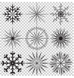 snowflake icon set on transparent vector image vector image