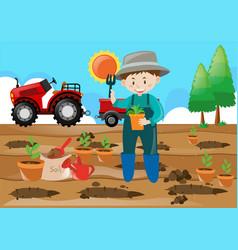 Farm scene farmer planting tree in the field vector