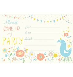 Party invitation with flower and bird cute design vector image vector image