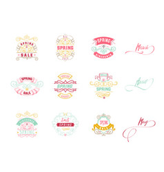 spring sale badge design sticker stamp logo - vector image vector image