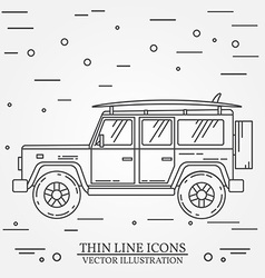 Travel car family camper with surf board thin line vector image