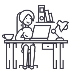 woman working on the office tableoffice interior vector image
