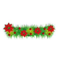 wreath with christmas flowers decorative vector image vector image