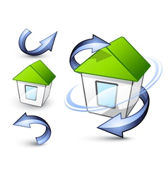 eco homes and arrows vector image