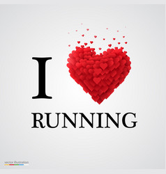 i love running heart sign vector image vector image