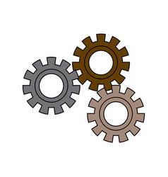set gear wheel cog cooperation teamwork concept vector image