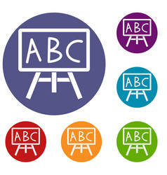 chalkboard with the leters abc icons set vector image