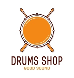 drum icon with sticks Drum school logo vector image