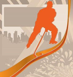 hockey player silhouette vector image vector image