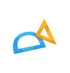 protractor and triangular ruler cartoon vector image