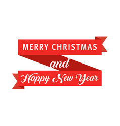 red banner ribbon merry christmas and happy new vector image