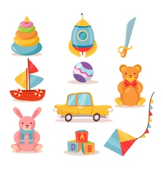 Set of Toys for Kids in Retro style vector image