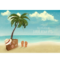 Vintage seaside background with suitcase and a hat vector image