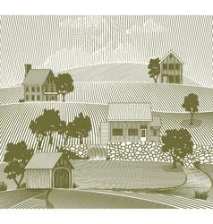 woodcut folk art village vector image vector image
