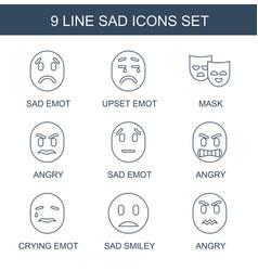 9 sad icons vector