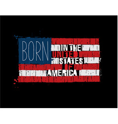 american text flag - born in usa vector image
