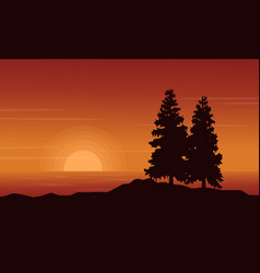 At sunset scenery lake with spruce silhouettes vector