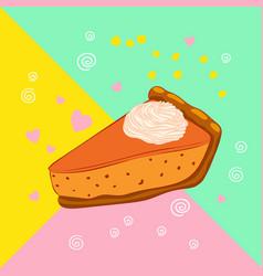 Autumn dessert pumpkin pie with cream vector