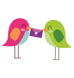 beautiful birds with message in beak lovely vector image