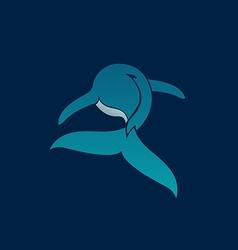 Blue whale away logo sign emblem on dark vector