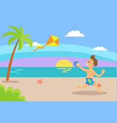 boy kid having fun summertime vacations sunset vector image
