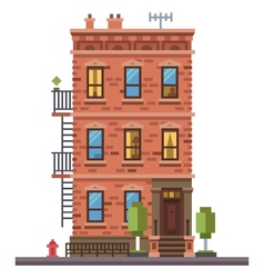 Brick townhouse vector
