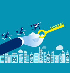 Business team with key to success concept vector
