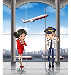 Cabin crew at airport vector