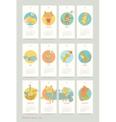 calendar design cat 2015 vector image