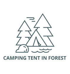 camping tent in forest line icon camping vector image