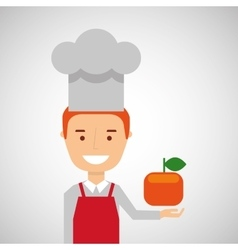 cheerful chef fresh orange graphic vector image