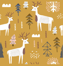 Childish seamless pattern with dears trendy vector