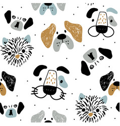 childish seamless pattern with funny creative dog vector image