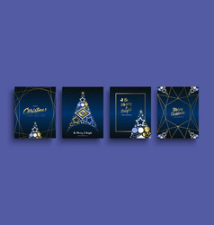 christmas and new year gold holiday icon card set vector image