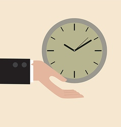 Clock floating on businessman hand vector image