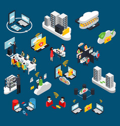 cloud office isometric icons set vector image