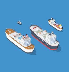 cruise boat and naval ships vector image