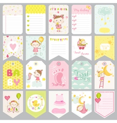Cute Baby Girl Tags Baby Banners Scrapbook Labels vector