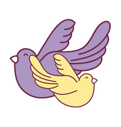 Cute doves animal peace symbol vector