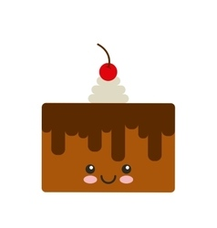 Delicious cake kawaii character vector
